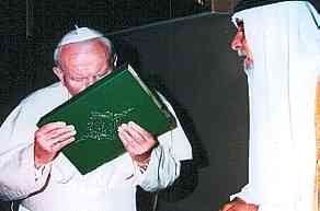 "pope John Paul II with Patriarch Raphael I of Iraq, kissing the ""holy qur'an"""